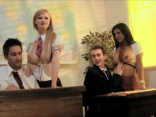 two dudes screw two stellar underwear clothed nymphs in classroom fourway