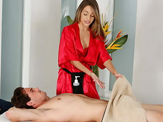 Shy man on his first massage with Kimmy Granger