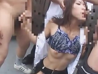 Japanese teacher blackmailed and face fucked on school roof