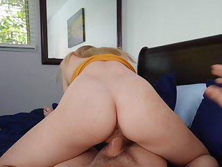 Girl rides step brother's cock in reverse for a full POV tryout