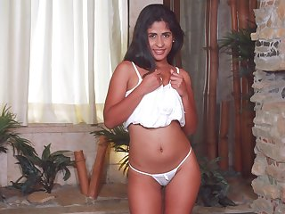 Hot babe with lovely bum Daniela Rodriguez just enjoys tenderly tease herself