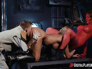 Seductive women play sexual games in dirty threesome
