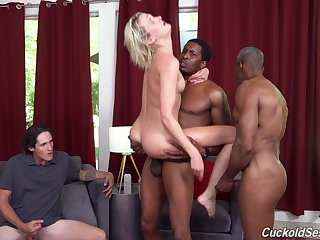 Cuckold husband watches interracial threesome with Zoe Sparx