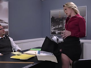 Energized office MILF is ready for her dose of cock
