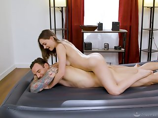 Masseuse sucks and rides client with real passion and lust