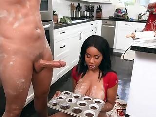 Naked ebony slut with big tits, crazy kitchen fuck