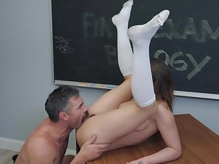 Teacher gets to fuck on of his college students anent hardcore