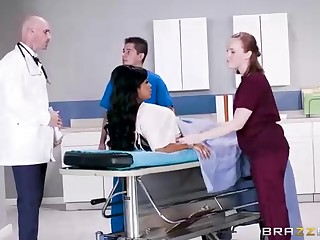 Buxom dark-hued woman almost a adorable tat, Mary Jean is pulling her doctor's massive man-meat, in his office