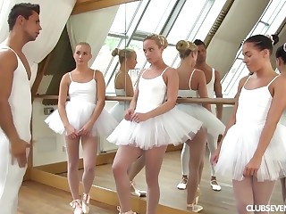 three youthfull lil' ballerinas plot manmeat of teacher inspection vigour