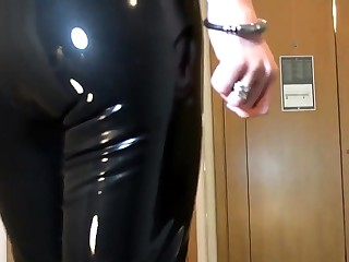 Titillating Latex Liquid Leggings nearly Red Stilettos Fetish