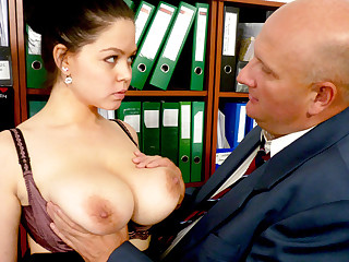 Boss made send with secretary's huge tits