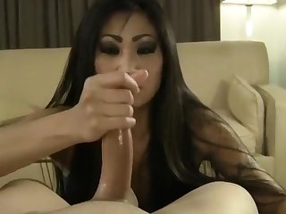 Asian girlfriend handjob pov