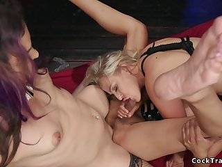 Tranny girlfriends double penetrate blondie