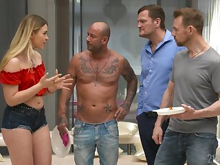 Two dicks one hole is everything blond seductress Selvaggia dreams about