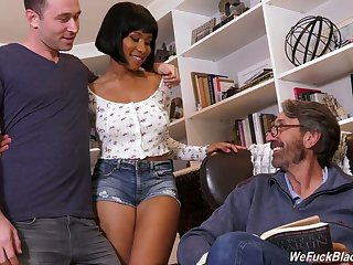 Stepson and stepdad fuck ebony chick Jenna Foxx and cum on her black boobs