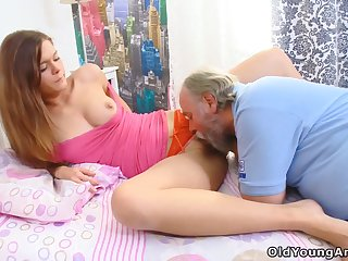 Pervert with beard is old bastard who loves getting BJ from fresh Alyona