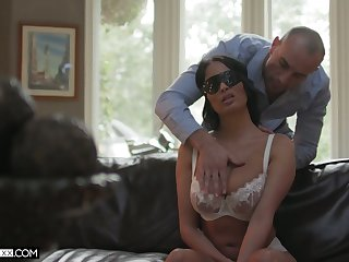 Latina sexy hottie from France Anissa Kate rides dick while being blindfolded