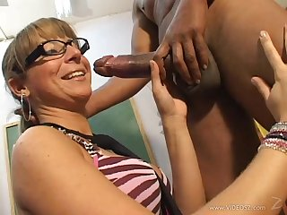 Tanlined blonde wife with glasses gets husband's cock in her ass