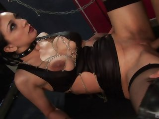 She gags and collars her man then has him fuck her