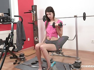 Lina Luxa gets horny from working out and she strips to play with her cunt