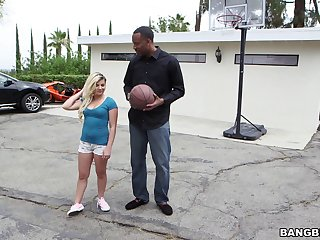 Keeping her shirt on as she gets drilled by a black dude