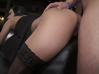 Bald headed pervert bangs deep throat and wet cunt of submissive whore