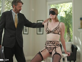 Old husband fucks blind folded young wife Ashley Lane and cums on her face