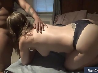 Masked brunette has a black bull banging her cunt doggystyle