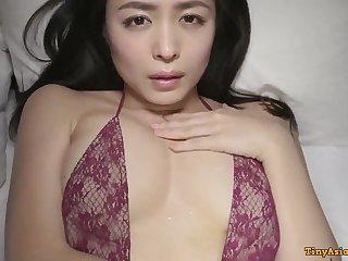 Kawamura Yukie - young beautiful Japanese Asian posing solo in lingerie