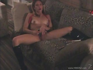 Tattooed amateur cowgirl masturbating with a toy before being shagged hardcore in a homemade tape