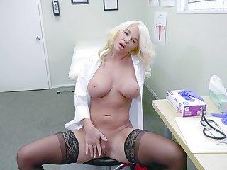 Female doctor enjoys a break by masturbating hard