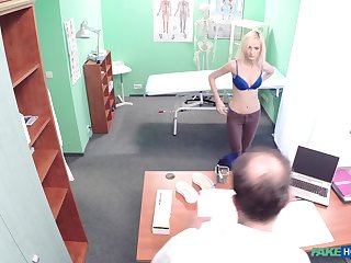 Petite blonde girl fingered and fucked by her horny doctor