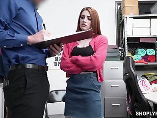 Ginger hottie Aria Carson is punished for shoplifting in the market