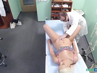 Jessie Ann gets fucked by a doctor's cock in the fake hospital