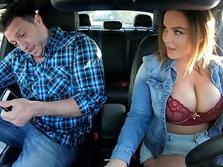 Busty uber driver Natasha Nice gives a blowjob and rides a dick like sex starved hooker