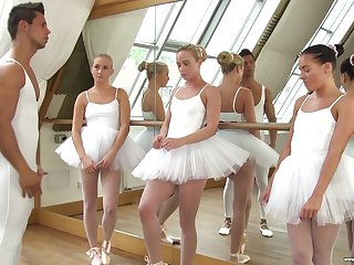 Cute ballerinas fuck their teacher in the hottest reverse gangbang session