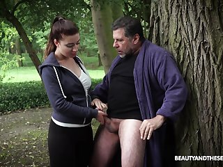 Hardcore fucking in the local woods with an older guy and Teressa