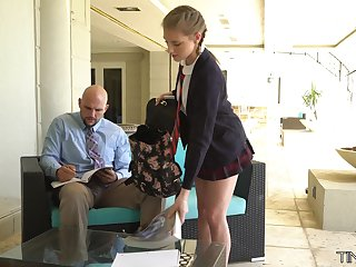 Cute student with petite body Melody Marks is fucked by tall big teacher J Mac