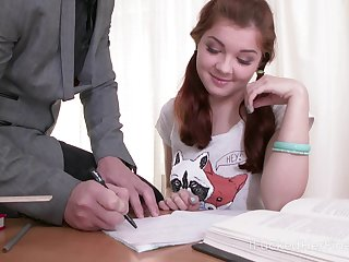Cute shy student Renata Fox is face fucked by sex-starved young teacher