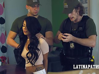 Illegal Latin babe Monica Asis is arrested and fucked by horny cop