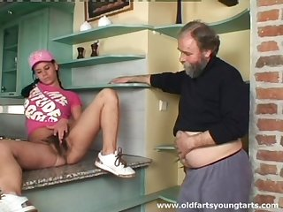 Old guy with a small dick pokes hairy pussy of younger Alena