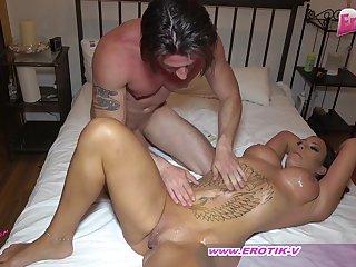 German big tits milf in oil couple sex