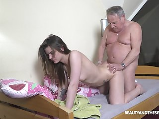 Senior man gets the chance to fuck his niece in the ass
